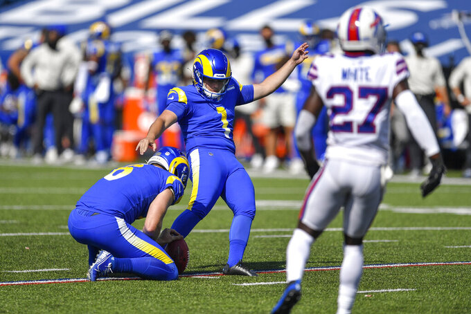 Los Angeles Rams kicker Sam Sloman (1) kicks a field goal during the first half of an NFL football game against the Buffalo Bills Sunday, Sept. 27, 2020, in Orchard Park, N.Y. (AP Photo/Adrian Kraus)