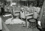 FILE - In this Oct. 25, 1957 file photo, the body of Mafia boss Albert Anastasia lies on the floor of the barbershop at New York's Park Sheraton Hotel after his murder. Anastasia's crime family was taken over by Carlo Gambino. While mob executions are a blast from the past; the last boss executed was Paul Castellano in 1985, on Wednesday, March 13, 2019, Francesco,
