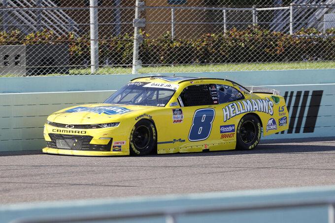 Dale Earnhardt Jr. (8) drives during a NASCAR Xfinity Series auto race Saturday, June 13, 2020, in Homestead, Fla. (AP Photo/Wilfredo Lee)