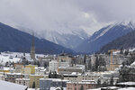 Snow covers the hills around Davos, Switzerland, Sunday, Jan. 19, 2020. The city will host the 50th annual meeting of the World Economic Forum from Jan. 20 until Jan. 24, 2020. (AP Photo/Markus Schreiber)