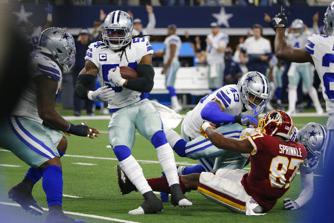 Dallas Cowboys middle linebacker Jaylon Smith (54) intercepts a pass during the first half an NFL football game against the Washington Redskins in Arlington, Texas, Sunday, Dec. 15, 2019. (AP Photo/Michael Ainsworth)