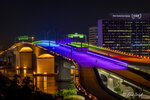 In this photo provided by the Jacksonville Transportation Authority, the Acosta Bridge is illuminated with rainbow lighting in honor of Pride Month, Monday, June 7, 2021, in downtown Jacksonville, Fla.  Florida has doused the rainbow lights temporarily decorating the bridge to celebrate gay rights, saying the decision was not motivated by animus but because the display violated regulations. The lights were turned back to blue Tuesday night, June 8. (Fred Ortyl/ Jacksonville Transportation Authority via AP)