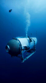 This undated photo provided by OceanGate Expeditions in June 2021 shows the company's Titan submersible. The undersea exploration company plans to dive to the sunken Titanic as early as Wednesday, June 30, 2021, to begin what's expected to be an annual chronicling of the shipwreck's ongoing deterioration. (OceanGate Expeditions via AP)