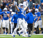 Air Force linebacker Kyle Johnson (40) celebrates after Air Force forced a turnover against Navy during an NCAA college football game at Falcon Stadium at the U.S. Air Force Academy, Saturday Oct. 6, 2018, in Colorado Springs, Colo.  (Dougal Brownlie,/The Gazette via AP)