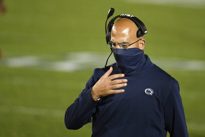 Penn State head coach James Franklin walks along the sideline late in the fourth quarter of an NCAA college football game against Maryland in State College, Pa., Saturday, Nov. 7, 2020. (AP Photo/Barry Reeger)