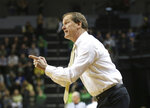 Oregon coach Dana Altman gestures tohis team during the first half of an NCAA college basketball game against Arizona State on Thursday, Feb. 28, 2019, in Eugene, Ore. (AP Photo/Chris Pietsch)