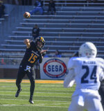 Southern Miss Jack Abraham, throws a pass during an NCAA college football game against Rice in Hattiesburg, Miss., Saturday, Oct. 31, 2020. (Cam Bonelli/Hattiesburg American via AP)