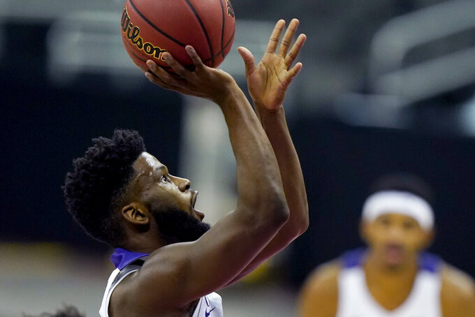 TCU's Mike Miles shoots during the second half of the team's NCAA college basketball game against Tulsa on Saturday, Nov. 28, 2020, in Kansas City, Mo. (AP Photo/Charlie Riedel)