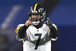 Pittsburgh Steelers quarterback Ben Roethlisberger (7) calls a play during the first half of an NFL football game against the Buffalo Bills in Orchard Park, N.Y., Sunday, Dec. 13, 2020. (AP Photo/Adrian Kraus)