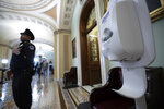 FILE - In this March 3, 2020, file photo a hand sanitizer dispenser is placed just outside the floor of the U.S. Senate chamber after concerns about the coronavirus in Washington. The Senate is set to resume Monday, May 4. (AP Photo/Alex Brandon, File)