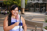 Arizona State University political science major Betzabel Ayala poses for a photo on campus Tuesday, Sept. 8, 2020, in Tempe, Ariz. Because of the coronavirus, Ayala is one of hundreds of thousands of off-campus U.S. college students who are being counted for the 2020 census at their parents' homes or other locations when they were supposed to be counted where they go to school. (AP Photo/Ross D. Franklin)