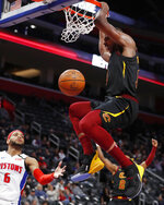 Cleveland Cavaliers center Tristan Thompson dunks during the second half of the team's NBA basketball game against the Detroit Pistons, Thursday, Jan. 9, 2020, in Detroit. (AP Photo/Carlos Osorio)