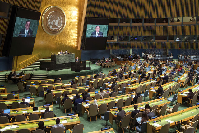 FILE - In this Sept. 29, 2018 file photo, North Korean Foreign Minister Ri Yong Ho addresses the 73rd session of the United Nations General Assembly at U.N. headquarters. The United Nations makes a point of welcoming all nations, regardless of political persuasion. But in many ways, there's a love-hate relationship between the North and the U.N. One important thing the North gets from the U.N. is a direct point of contact with the 192 other member nations, including a host of countries that would be loath to send their diplomats to pay homage in Pyongyang, pre-eminent among them, the United States.  (AP Photo/Mary Altaffer, File)