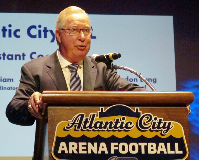 Former Philadelphia Eagles quarterback Ron Jaworski, now part of an ownership group in the Arena Football League, speaking at a news conference Thursday, Feb. 21, 2019, in Atlantic City, N.J., about the new expansion team that will play there beginning in April. The Arena League and the Alliance of American Football are among football leagues drawing action from sports bettors this year. (AP Photo/Wayne Parry)