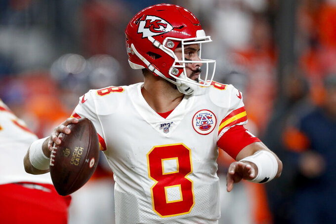 Kansas City Chiefs quarterback Matt Moore (8) looks to pass against the Denver Broncos during the first half of an NFL football game, Thursday, Oct. 17, 2019, in Denver. (AP Photo/David Zalubowski)
