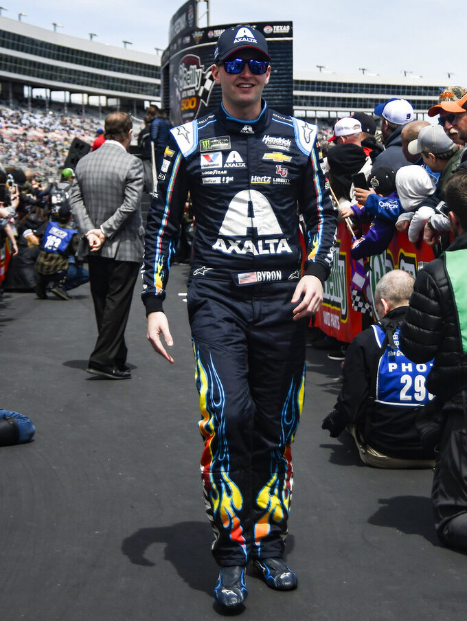 Driver William Byron is seen during driver introductions before a NASCAR Cup auto race at Texas Motor Speedway, Sunday, March 31, 2019, in Fort Worth, Texas. (AP Photo/Randy Holt)