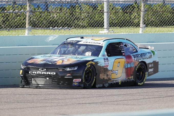 Noah Gragson (9) drives during a NASCAR Xfinity Series auto race Saturday, June 13, 2020, in Homestead, Fla. (AP Photo/Wilfredo Lee)