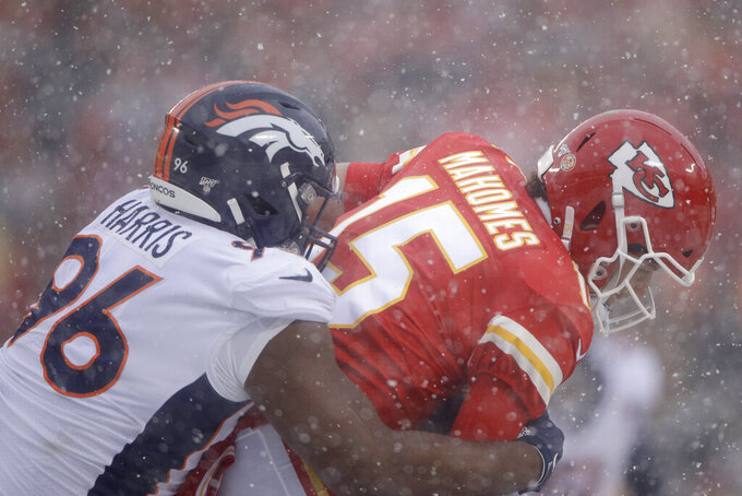 Denver Broncos nose tackle Shelby Harris (96) sacks Kansas City Chiefs quarterback Patrick Mahomes (15) during the first half of an NFL football game in Kansas City, Mo., Sunday, Dec. 15, 2019. (AP Photo/Charlie Riedel)