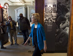 Democratic presidential candidate Sen. Elizabeth Warren, D-Mass., looks through the exhibits of the Selma Interpretive Center in Selma, Ala., on Tuesday, March 19, 2019. (Jake Crandall/The Montgomery Advertiser via AP)