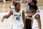 Baylor guard Davion Mitchell (45) celebrates a play with Adam Flagler in the second half of a Sweet 16 game against Villanova in the NCAA men's college basketball tournament at Hinkle Fieldhouse in Indianapolis, Saturday, March 27, 2021. (AP Photo/AJ Mast)