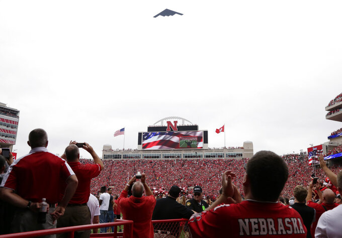 A B2 bomber flies over Memorial Stadium before the first half of an NCAA college football game between Nebraska and Colorado, in Lincoln, Neb., Saturday, Sept. 8, 2018. (AP Photo/Nati Harnik)