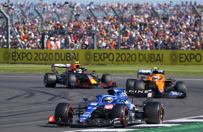 Alpine driver Fernando Alonso of Spain steers his car during the Sprint Qualifying of the British Formula One Grand Prix, at the Silverstone circuit, in Silverstone, England, Saturday, July 17, 2021. The British Formula One Grand Prix will be held on Sunday. (AP Photo/Jon Super)