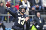 Purdue quarterback Jack Plummer (13) throws against Nebraska during the first half of an NCAA college football game in West Lafayette, Ind., Saturday, Nov. 2, 2019. (AP Photo/Michael Conroy)