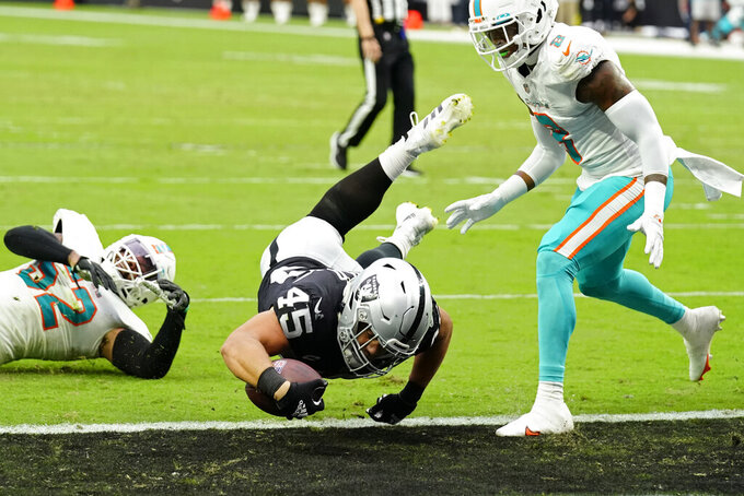 Las Vegas Raiders fullback Alec Ingold (45) dives in for a touchdown by Miami Dolphins free safety Jevon Holland (8) during the first half of an NFL football game, Sunday, Sept. 26, 2021, in Las Vegas. (AP Photo/Rick Scuteri)