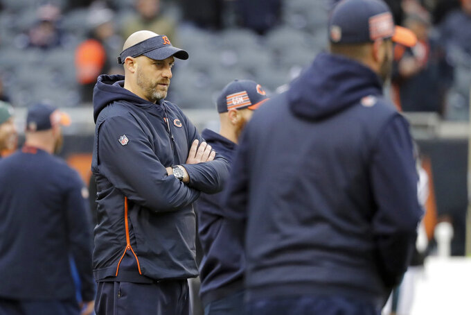 Chicago Bears head coach Matt Nagy watches his players before an NFL wild-card playoff football game against the Philadelphia Eagles Sunday, Jan. 6, 2019, in Chicago. (AP Photo/Nam Y. Huh)