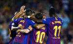 FC Barcelona's Lionel Messi, center back, celebrates with teammates after scoring during the Spanish La Liga soccer match between FC Barcelona and Girona at the Camp Nou stadium in Barcelona, Spain, Sunday, Sept. 23, 2018. (AP Photo/Manu Fernandez)