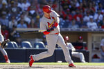 St. Louis Cardinals' Matt Wieters hits a two-run home run during the eleventh inning of a baseball game against the San Diego Padres, Sunday, June 30, 2019, in San Diego. (AP Photo/Gregory Bull)