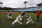 CORRECTS SPELLING TO AZUMA INSTEAD OF AZUMI - Young baseball players stretch during a festival held to celebrate the city's hosting of baseball and softball games at the Tokyo 2020 Olympics at the Azuma Baseball Stadium, Saturday, Nov. 30, 2019, in Fukushima, Fukushima prefecture, Japan. (AP Photo/Jae C. Hong)