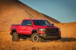 This photo provided by Stellantis North America shows the 2021 Ram 1500 TRX Crew Cab, a full-size off-road-focused truck that can carry up to five people comfortably. (Courtesy of Stellantis North America via AP)