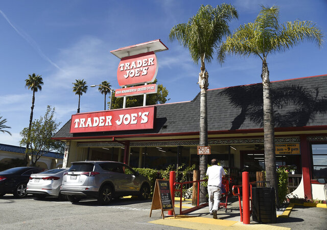 FILE - In this Feb. 26, 2020, file photo, the original Trader Joe's grocery store in Pasadena, Calif., is viewed. Responding to calls for Trader Joe's to stop labeling its international food products with ethnic-sounding names, the grocery store chain said it has been in a yearslong process of repackaging those products and will soon complete the work. (AP Photo/Chris Pizzello, File)