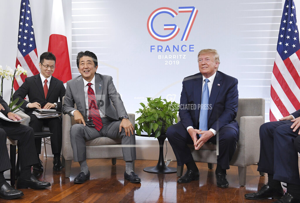 G7 summit in Biarritz, France / Trump meets Abe