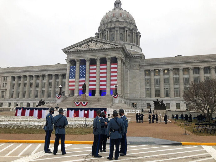 Members of the Missouri State Highway Patrol gather outside the state Capitol on Monday, Jan 11, 2021, as final preparations are made for the inauguration of Missouri Gov. Mike Parson in Jefferson City, Mo. (AP Photo/David A. Lieb)