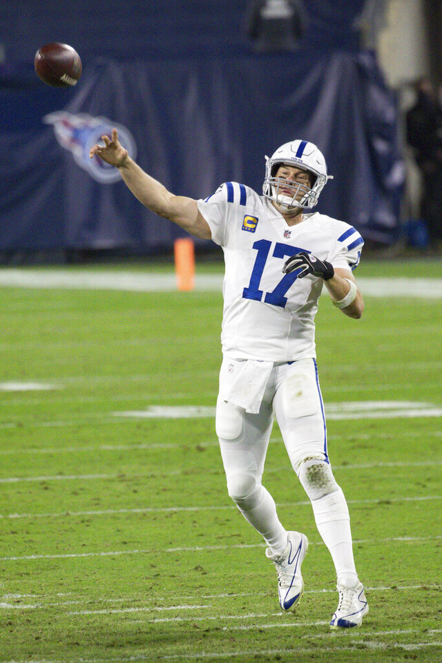 Indianapolis Colts quarterback Philip Rivers (17) throws downfield to a receiver in an NFL game against the Tennessee Titans, Thursday, Nov. 12, 2020 in Nashville, Tenn. The Colts defeated the Titans 34-17. (Margaret Bowles via AP)