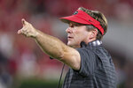Georgia coach Kirby Smart reacts to a play during the first half of the team's NCAA college football game against South Carolina on Saturday, Sept. 18, 2021, in Athens, Ga. (AP Photo/Butch Dill)