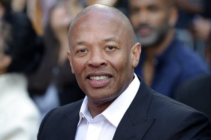 FILE - This Nov. 27, 2018 file photo shows music producer and entrepreneur Dr. Dre at a hand and footprint ceremony honoring Quincy Jones in Los Angeles. Dre, who has produced hits for Eminem, Tupac, Snoop Dogg and more, will be honored by the Recording Academy for his trailblazing production work. The Recording Academy announced Friday that its Producers & Engineers Wing will pay tribute the Rock and Roll Hall of Famer on Jan. 22 at Village Studios in Los Angeles. (Photo by Richard Shotwell/Invision/AP, File)