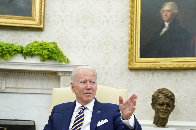 President Joe Biden speaks during his meeting with Israeli President Reuven Rivlin in the Oval Office of the White House in Washington, Monday, June 28, 2021. (AP Photo/Susan Walsh)