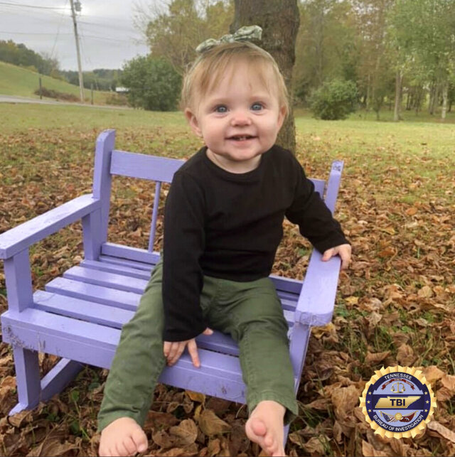 This undated photo released by the Tennessee Bureau of Investigation shows Evelyn Mae Boswell. Investigators in Tennessee worked all night Wednesday, Feb. 19, 2020 and into Thursday morning searching for the 15-month-old girl who hasn't been seen since the day after Christmas. (Tennessee Bureau of Investigation via AP)