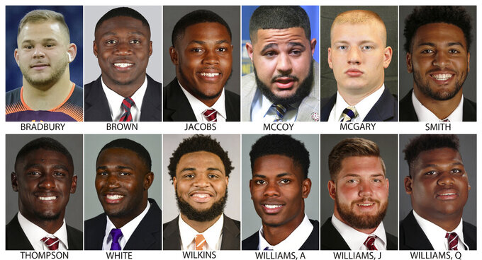 "These photos provided by their respective schools shows prospects in the 2019 NFL Draft. Top row from left are: Garrett Bradbury, N.C. State; A.J. Brown, Ole Miss; Josh Jacobs, Alabama; Erik McCoy, Texas A&M; Kaleb McGary, Washington and Irv Smith Jr., Alabama. Bottom row from left are: .  Deionte Thompson, Alabama; Devin White, LSU; Christian Wilkins, Clemson; Andraez ""Greedy"" Williams, LSU; Jonah Williams, Alabama and Quinnen Williams, Alabama (AP Photo)"