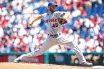 New York Mets' Zack Wheeler pitches during the first inning of a baseball game against the Philadelphia Phillies, Thursday, June 27, 2019, in Philadelphia. (AP Photo/Matt Slocum)