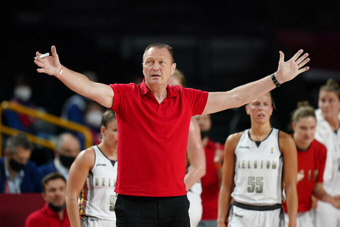 Belgium's head coach Philip Mestdagh gestures during women's basketball preliminary round game between Belgium and Puerto Rico at the 2020 Summer Olympics, Friday, July 30, 2021, in Saitama, Japan. (AP Photo/Eric Gay)