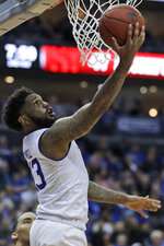 Seton Hall's Myles Powell drives to the basket during the second half of an NCAA college basketball game against St. John's in Newark, N.J., Sunday, Feb. 23, 2020. Seton Hall defeated St. John's 81-65. (AP Photo/Seth Wenig)
