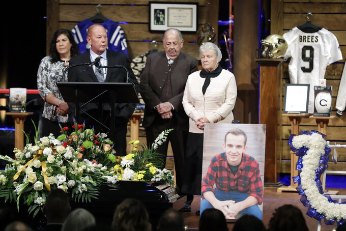 Todd Trent, an uncle to Tyler Trent, speaks during a funeral for Trent at College Park Church, Tuesday, Jan. 8, 2019, in Indianapolis. Trent, an avid Purdue fan, died on New Year's Day, following a bout with bone cancer. (AP Photo/Darron Cummings, Pool)