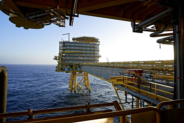 FILE - In this Oct. 23, 2013, file photo of A.P. Moller-Maersk's oil rig in the North Sea named Halfdan. Denmark has decided to end to all oil and gas offshore activities in the North Sea by 2050 and has cancelled its latest licensing round, saying the country is