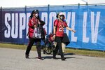 Fans arrive at Raymond James Stadium before the NFL Super Bowl 55 football game between the Kansas City Chiefs and Tampa Bay Buccaneers, Sunday, Feb. 7, 2021, in Tampa, Fla. (AP Photo/Lynne Sladky)