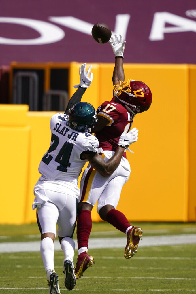 Philadelphia Eagles cornerback Darius Slay (24) breaks up a pass for Washington Football Team wide receiver Terry McLaurin (17) during the first half of an NFL football game, Sunday, Sept. 13, 2020, in Landover, Md. (AP Photo/Alex Brandon)