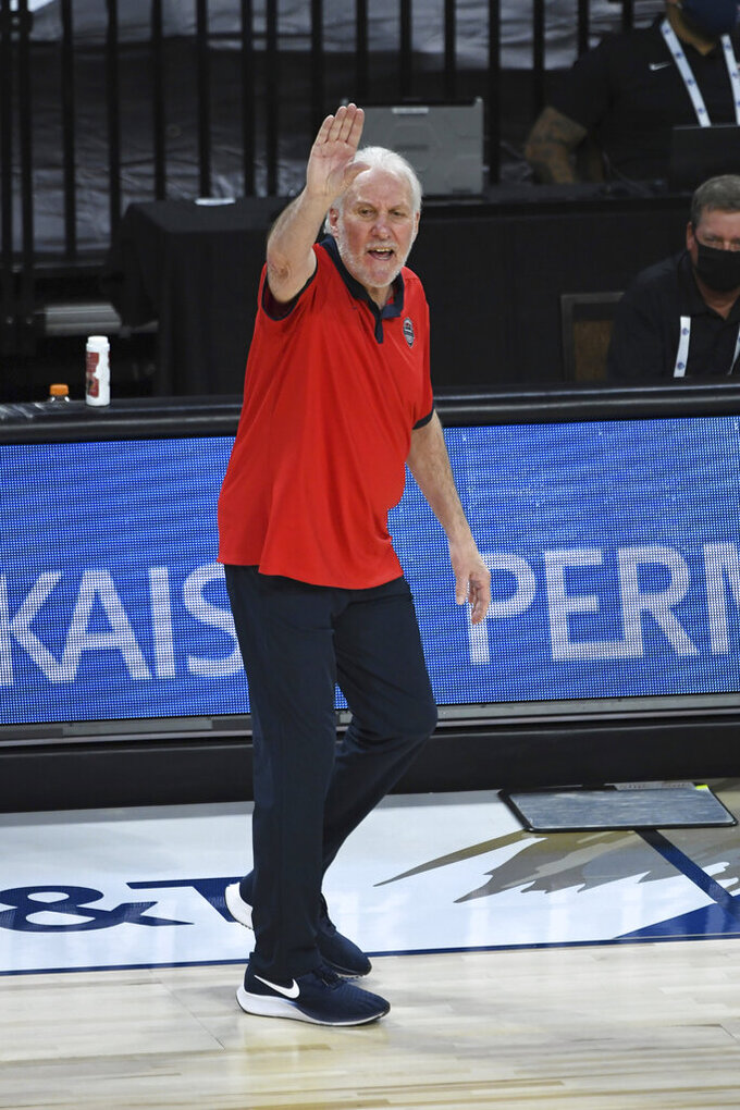 United States coach Gregg Popovich calls to his team during an exhibition basketball game against Nigeria, Saturday, July 10, 2021, in Las Vegas. (AP Photo/David Becker)